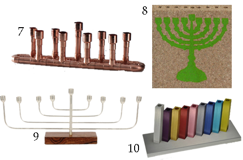 Copper Rainbow Cord Contemporary Menorahs