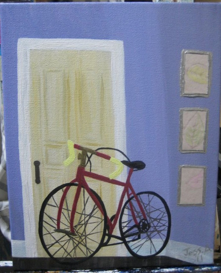 Red Bicycle-j-abbott-art-etsy