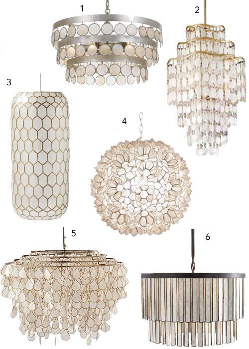 Capiz Shell Chandelier Abalone Pendant Coastal Lighting