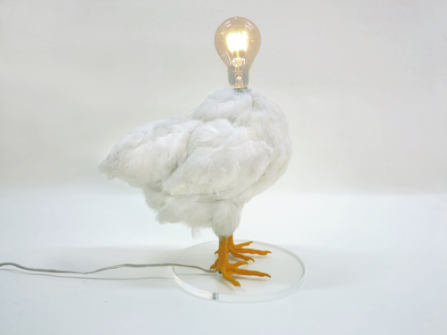 White Feather Chicken Lamp WIth Bulb Head