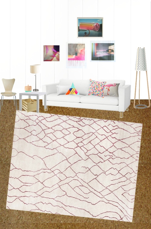 Organic Moroccan Patterned Living Room Rug