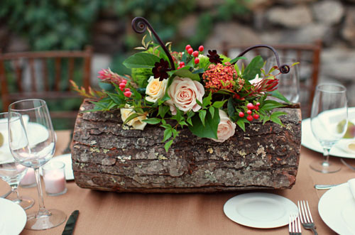 Autumn Wedding Centerpiece Flowers In Log