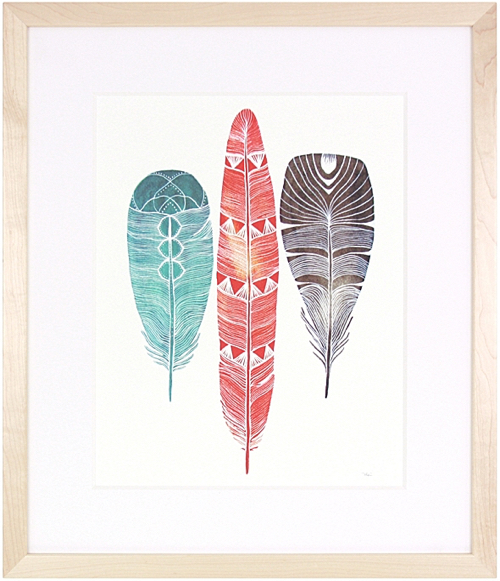Signed Print Of Three Feathers Framed