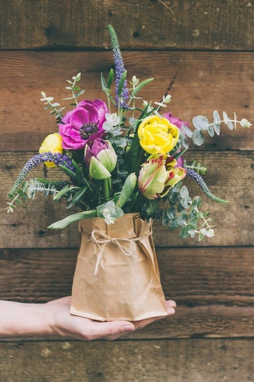 Flower Bouquet In Brown Paper Bag
