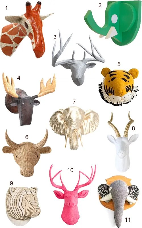 Faux Animal Heads Trophy Mounts Taxidermy Wall Decor