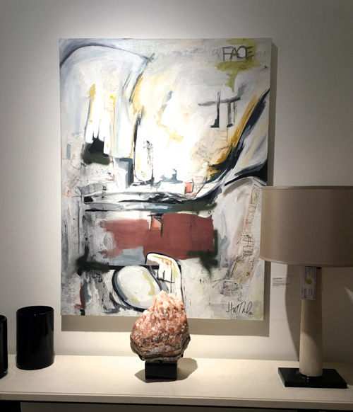 Abstract Artist Hilary Tait Norod Painting At Boston Design Center