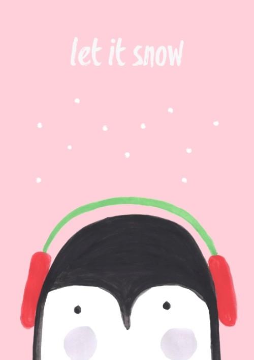 Let It Snow Penguin Illustration Affordable Art