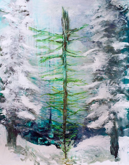 Affordable Artwork Snowy Landscape Painting With Winter Tree