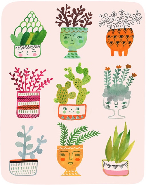 Illustration Of Assorted Cactus Plants In Pots