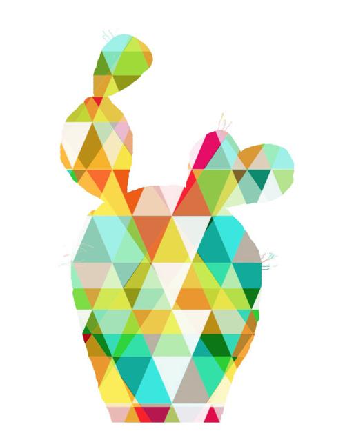 Geometric Cactus Illustration Print On Etsy