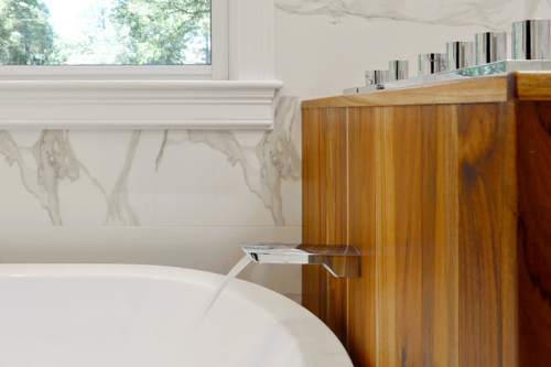 Contemporary Bathroom Design WIth Marble & Wood Finishes