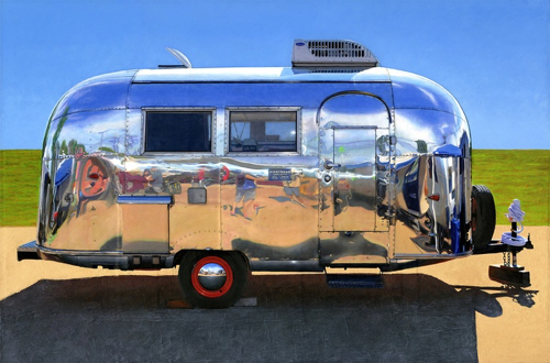Painting Of Airstream Trailer By Leah Giberson At MassArt Auction