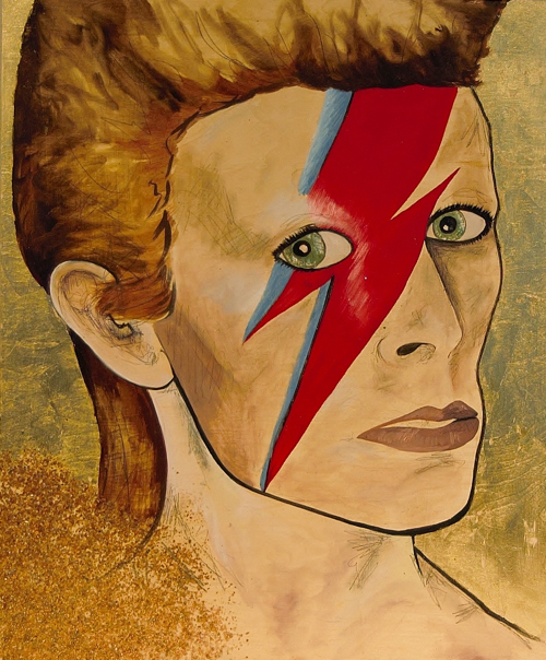 Painting of David Bowie By Hilary Tait Norod