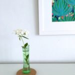 Sunday Bouquet: Tiny White Flowers In Green Glass Bud Vase