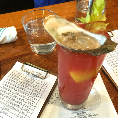 Boston Bar Saltie Girl Serves Bloody Marys With An Oyster