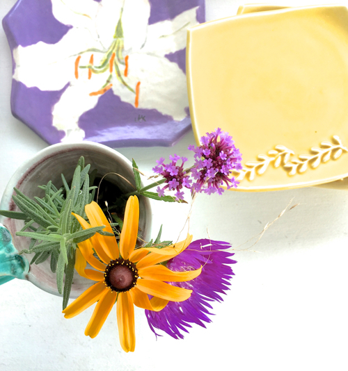 Black Eyed Susan And Purple Flowers WIth Hand Painted Pottery