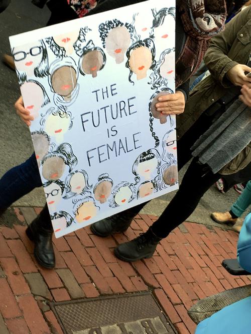 The Future Is Female Boston Women's March Sign