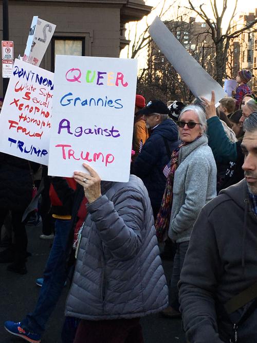 Queer Grannies Against Trump Boston Women's March Sign