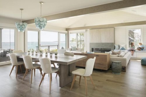 Beach House Dining Room With Oak Table And Turquoise Chandelier