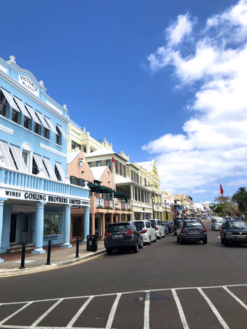 Pastel Buildings in Hamilton Bermuda Downtown