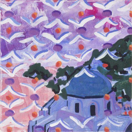 Lee Essex Doyle Travel Paintings Santorini Sky