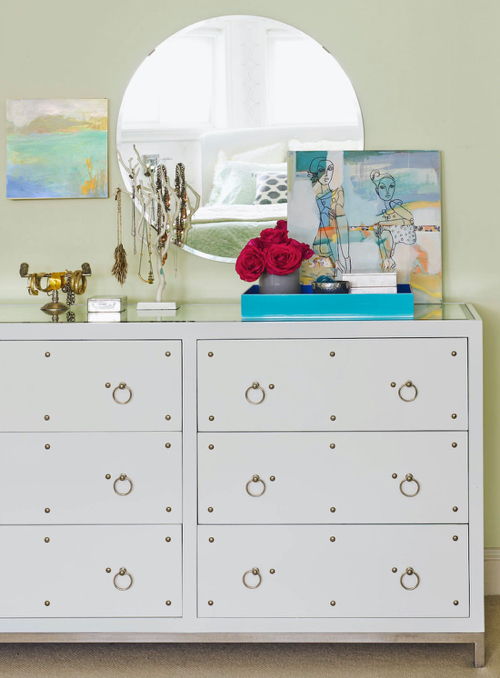 White Dresser With Chrome Studs Modern Bedroom Furniture