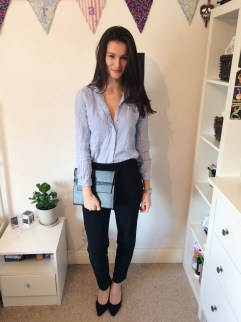 Look 1: M&S black trousers and black heels, both from eBay, with Matt & Nat clutch