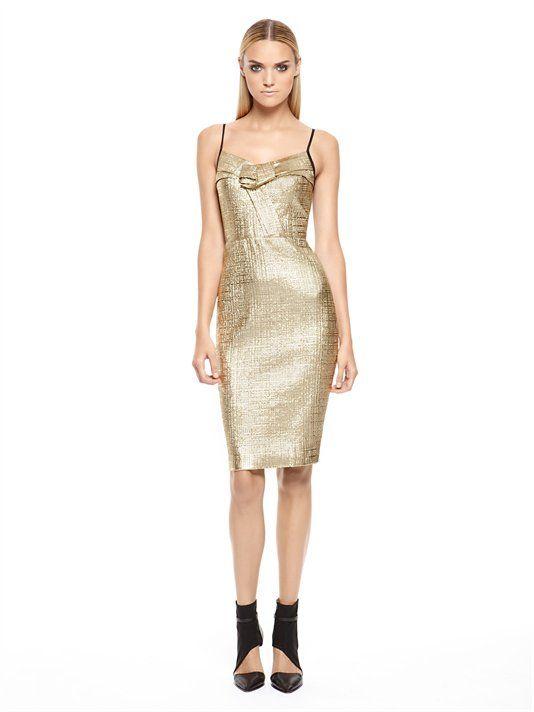 dkny gold jacquard dress