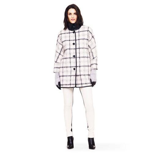 wool blend plaid coat