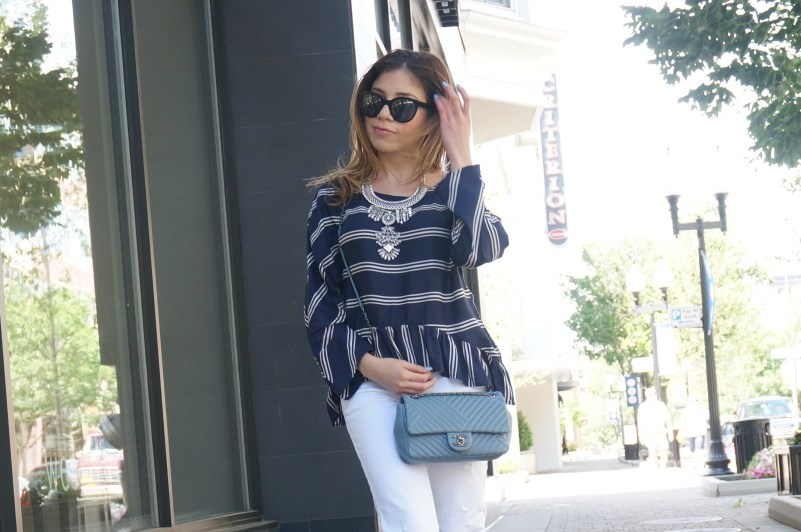 OOTD Stripes and Statement Necklace