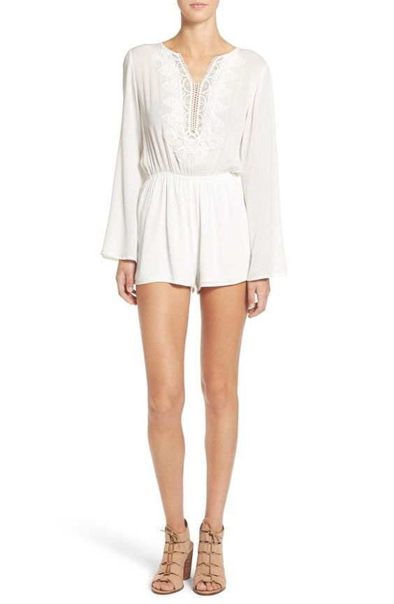 white bell-sleeved romper