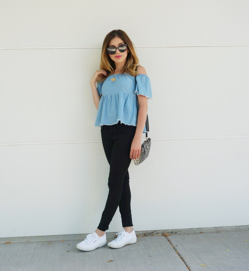 Chambray off-the-shoulder