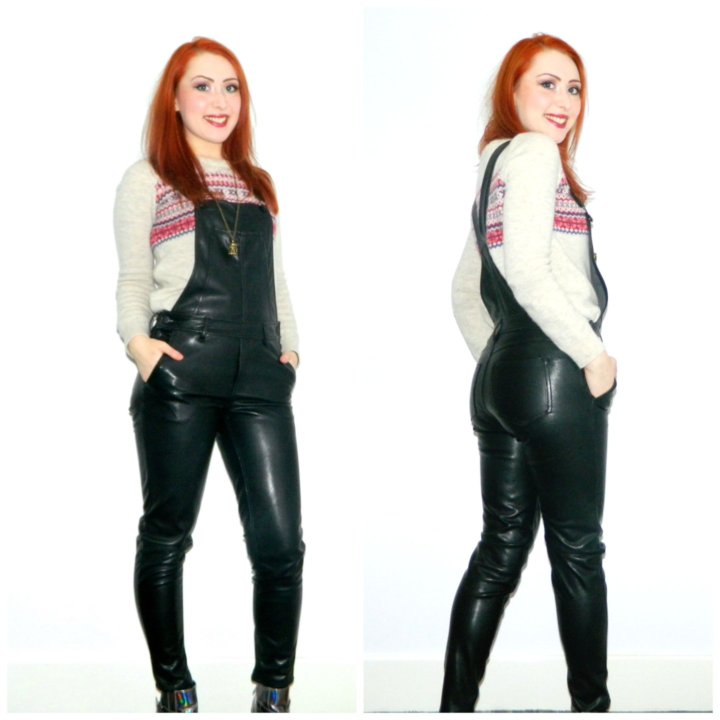 Dungarees and Knitwear: the not-so-cute leather look
