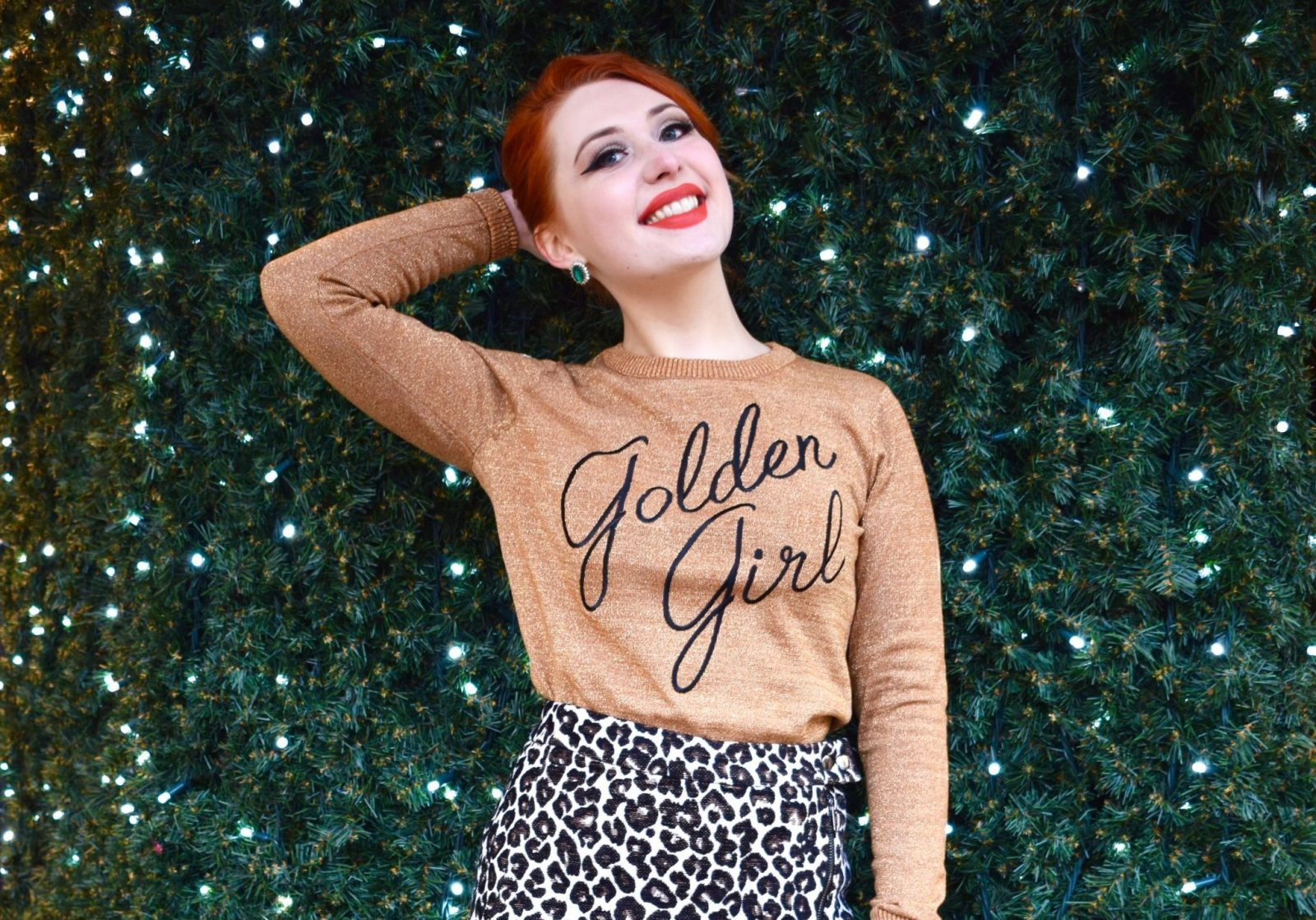 Blogger Twenty-Something City wearing Golden Girl jumper by Joanie Clothing in Manchester