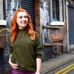 Blogger Twenty-Something City wearing smart casual winter jumper in Northern Quarter, Manchester