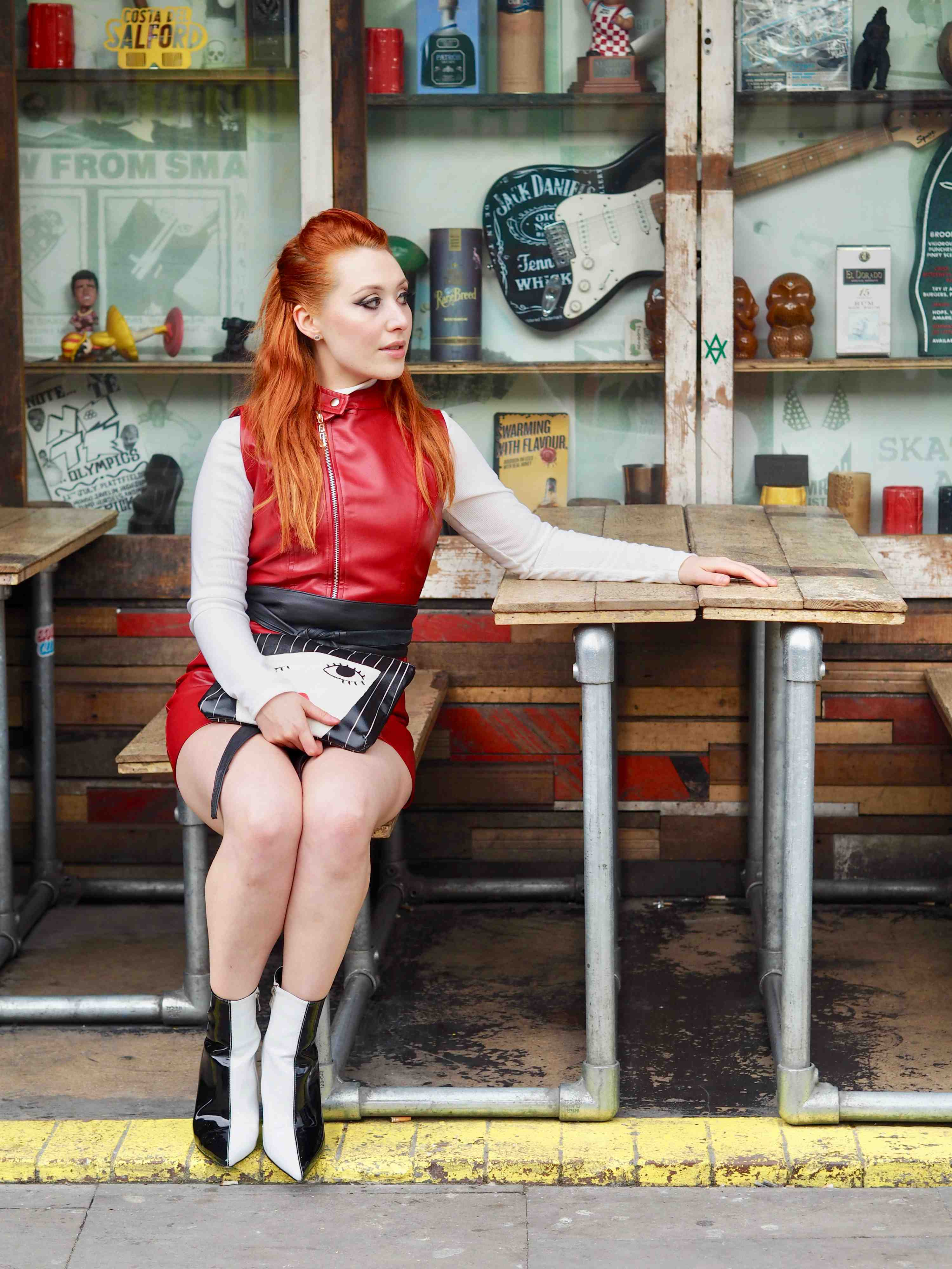 Blogger Twenty-Something City red leather biker dress street style Cain and Grain Manchester