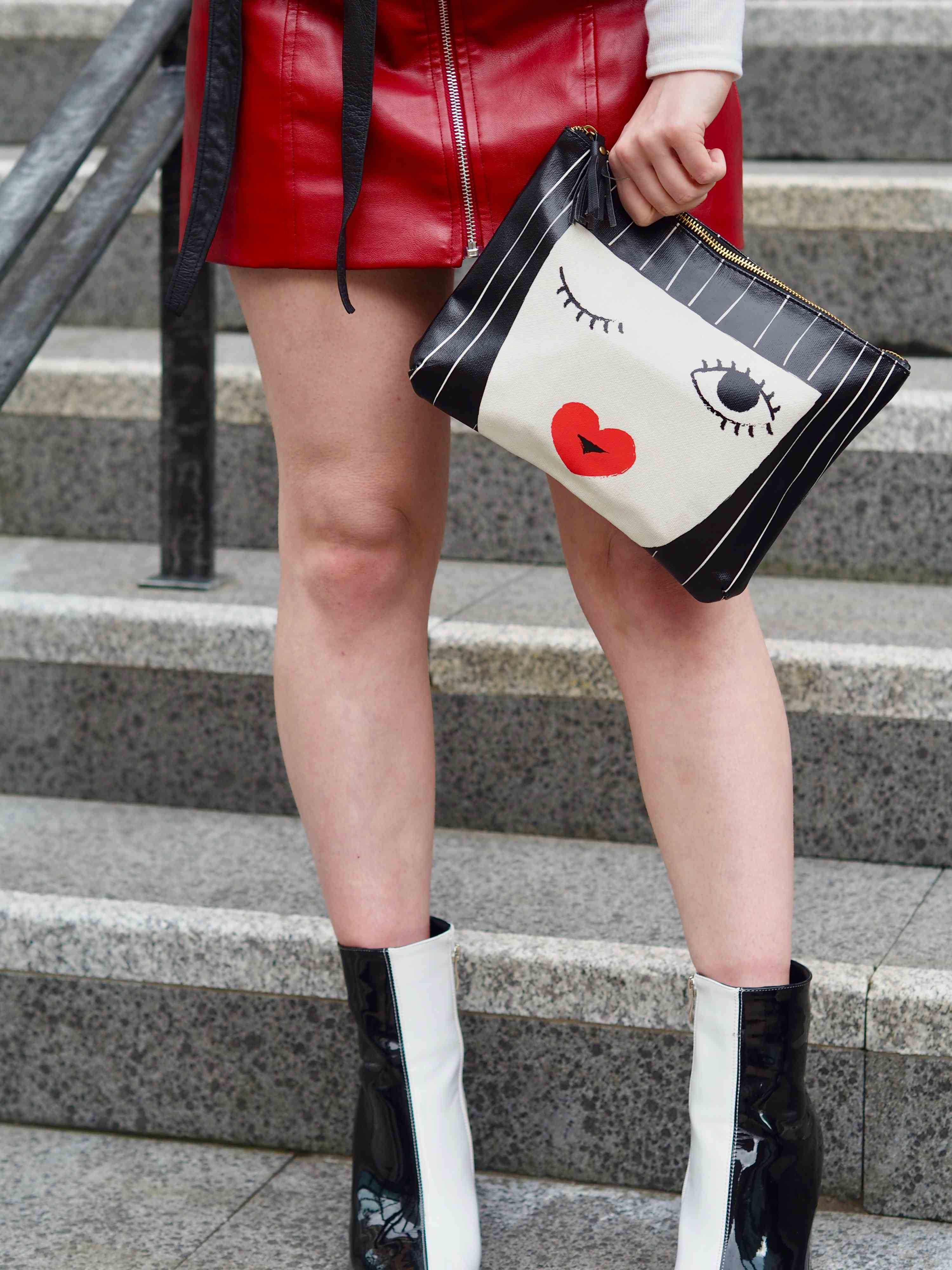 Manchester blogger street style black and white boots and bag