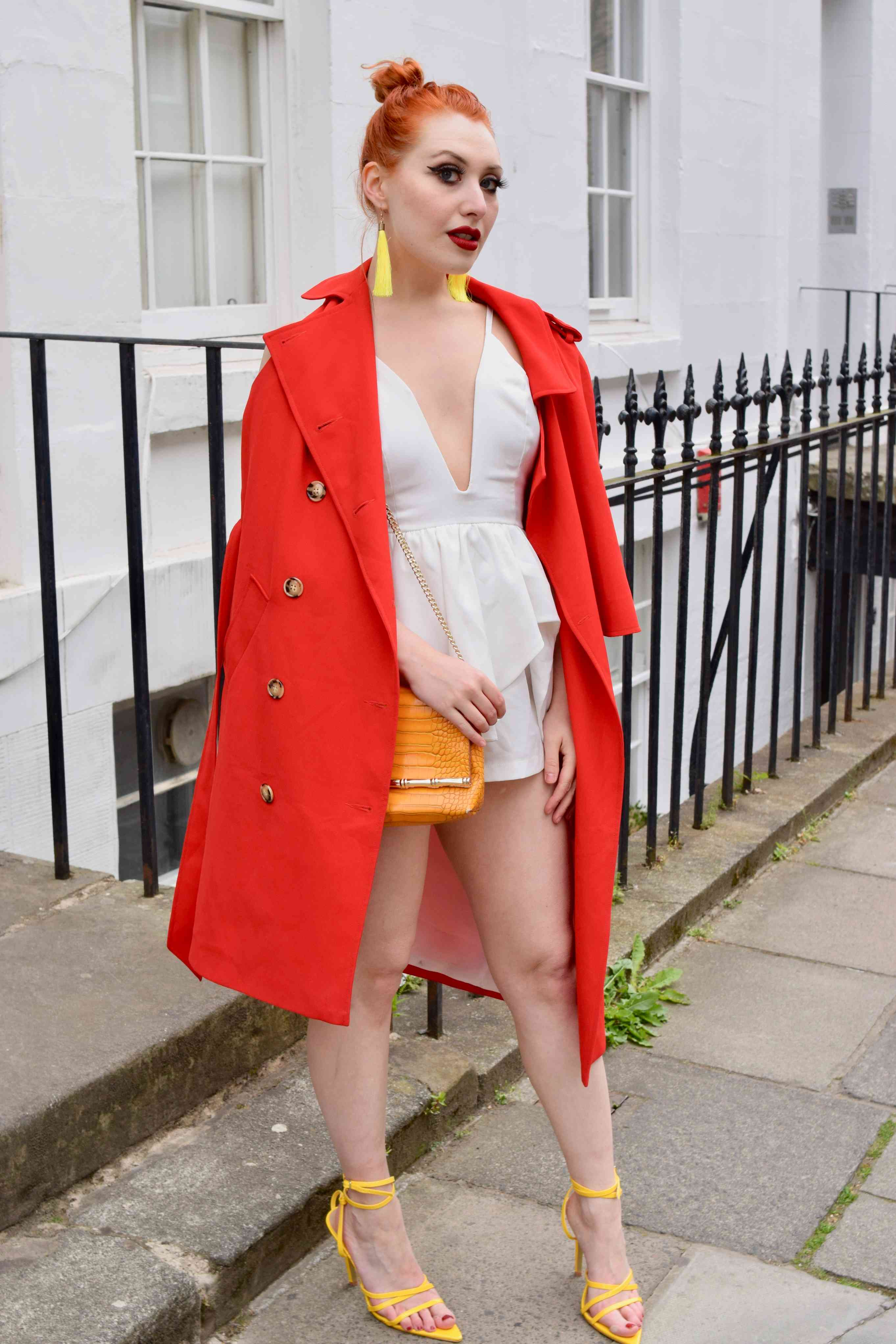Blogger Twenty-Something City wears red cape coat and iKrush summer yellow heels