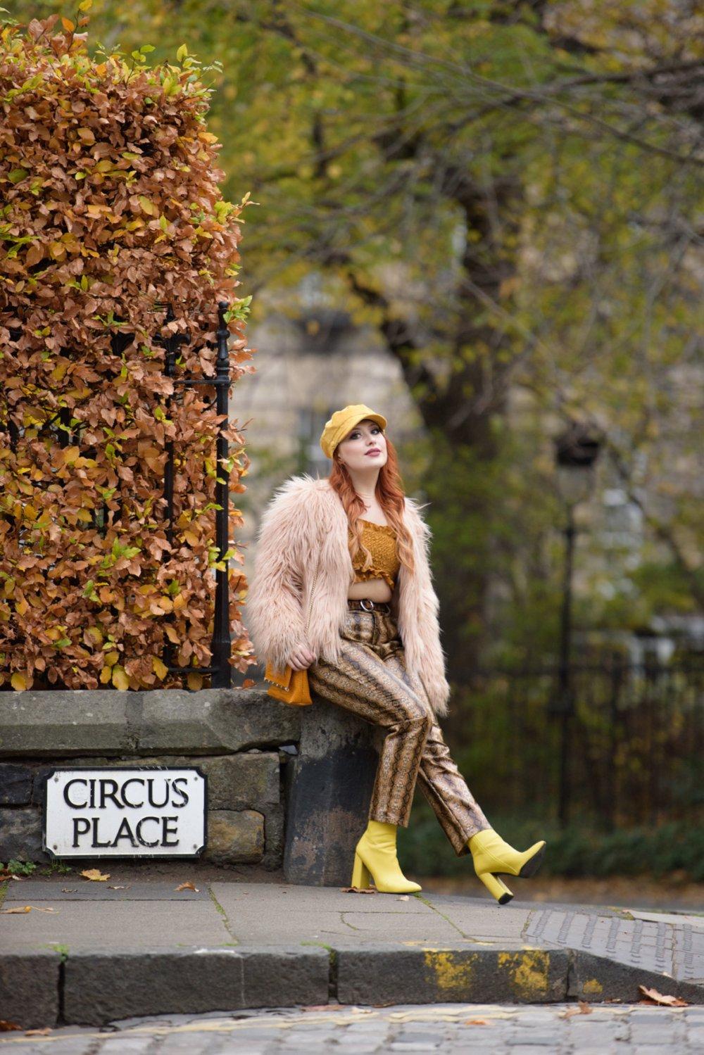 Blogger Twenty-Something City wearing autumn 70s boho fashion on Circus Place Edinburgh