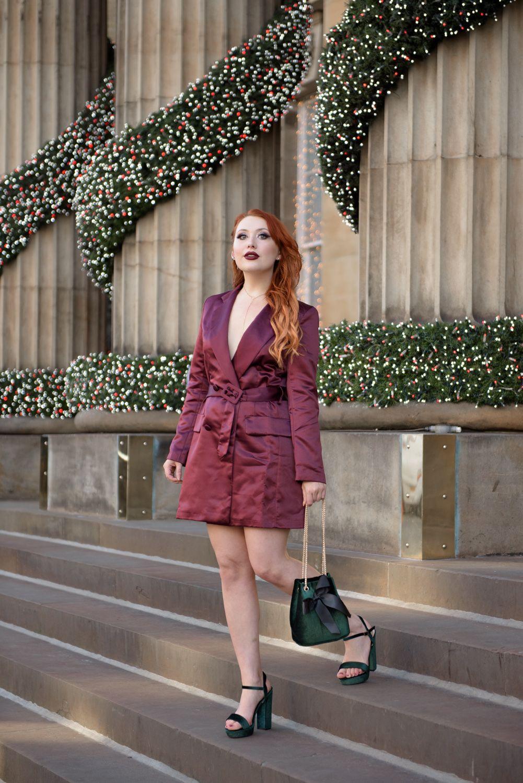 Scottish blogger Twenty-Something City Boohoo Christmas blazer dress