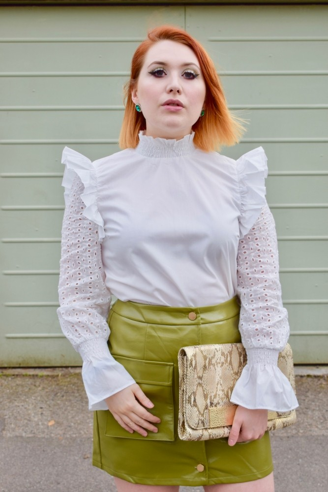 Scottish blogger Styled by Alice wears olive green mini skirt and broderie anglaise blouse for spring