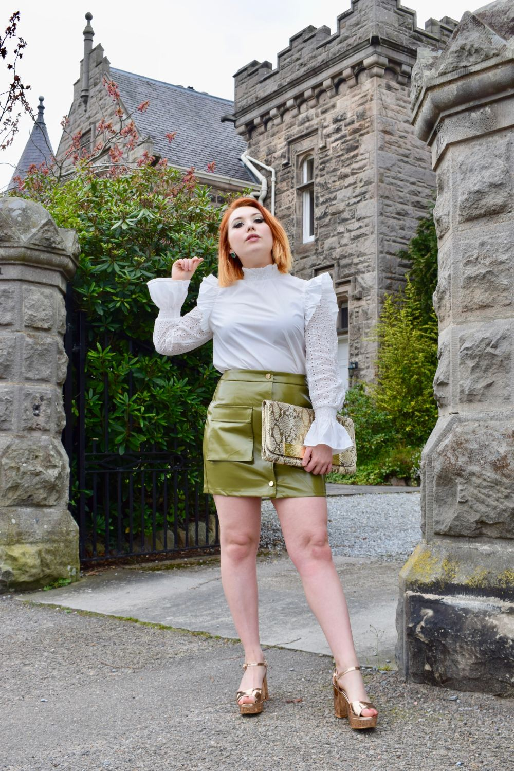 Scottish blogger Styled by Alice wears spring pvc mini skirt utility trend and broderie anglaise blouse
