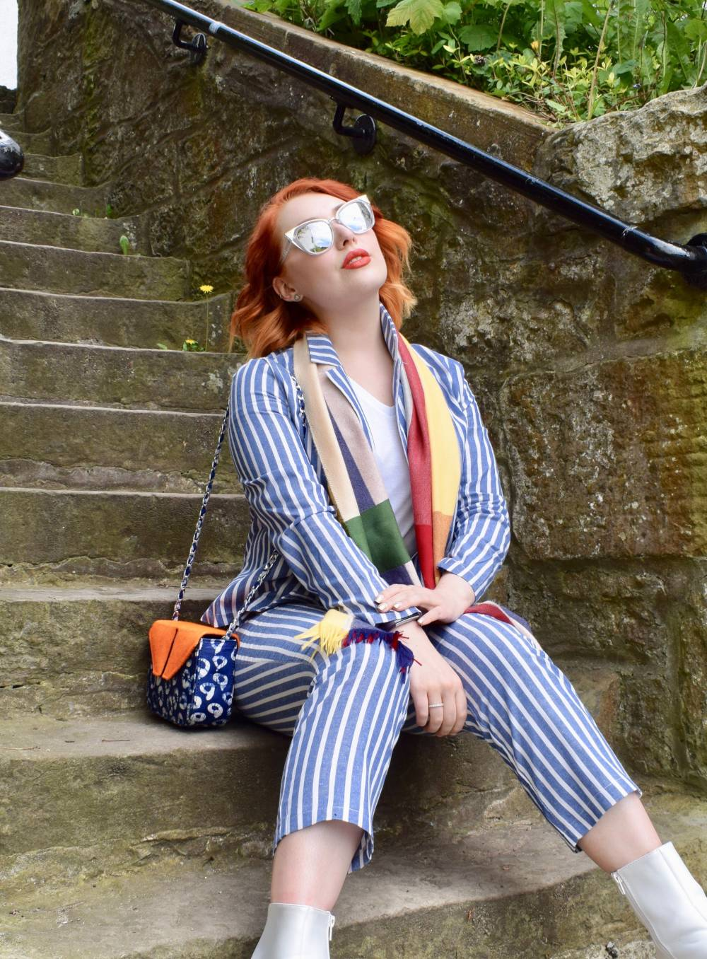Scottish fashion blogger Styled by Alice wears navy stripe co ord and colourful scarf