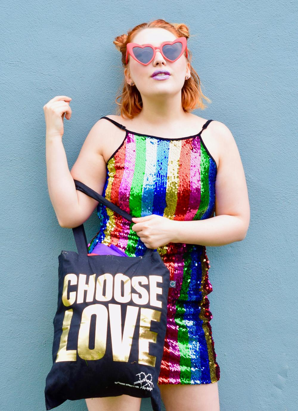 Scottish blogger Styled by Alice wears ASOS Help Refugees with Katherine Hamnett ethical Pride tote bag and rainbow sequin dress