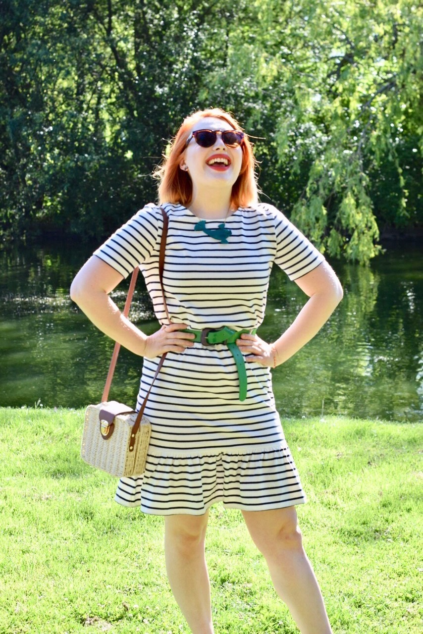 Scottish ethical fashion blogger Styled by Alice wears stripy organic cotton summer dress from People Tree