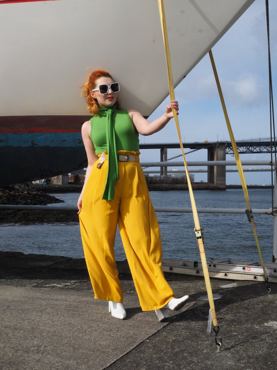 Scottish fashion stylist and blogger Styled by Alice shows how to wear colour with a bright green and yellow outfit