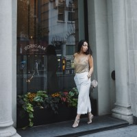 Disco Diva: Gold Cami, Ivory Culottes, Cross-Over Champagne Glitter Jimmy Choo Sandals, Gucci Soho Disco Bag and Gold Drape Arm Cuff