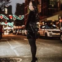 Velvet for the Holidays: Black Velvet Wrap Dress, Embellished Tights, Gucci Mini Dionysus Velvet Chain Bag, Black Velvet Heels and Emerald Green Double-Breasted Overcoat