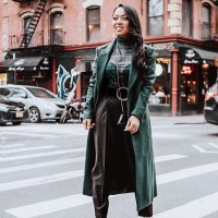 Pretty Plaid: Sheer Mesh Plaid Turtleneck, Tapered Tailored High-Waist Trousers, Forest Green Wool Blend Double Breasted Coat, Gucci Mini Dionysus Chain Wallet, Metallic Green Pumps, Rhinestone Buckle Belt, and Pearl & Crystal Statement Earrings
