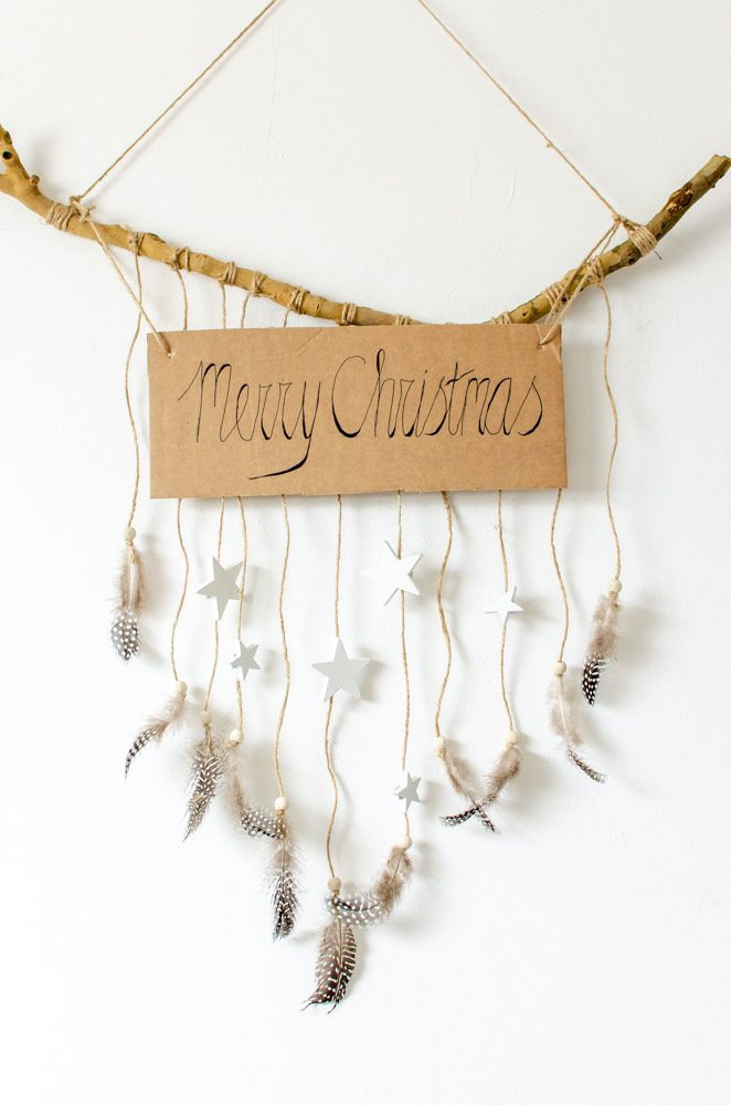 DIY boho kersthanger